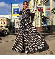 Длинное платье в горошек с юбкой запахом