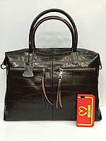 Женская сумка Galanty 1861 из натуральной кожи с плечевым ремнем цвета коричневый, черный и красный