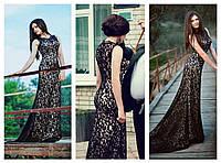 Длинное платье с небольшим шлейфом без рукавов