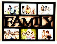 Мультирамка FAMILY на 6 фотографий черная