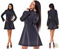 Платье трапецией короткое с отделкой рюшами