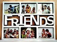 Мультирамка  FRIENDS на 6 фотографий белая