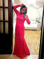 Кружевное вечернее платье длинное