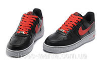 Мужские кроссовки Nike Air Force 1 low (black-red)