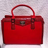 Стильная женская красная сумка лаковая с крокодиловыми вставками