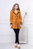 Женское пальто осень весна 529  горчичный 42-50 размеры