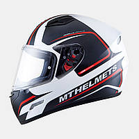 Мотошлем интеграл MT Mugello Jerome Gloss White/Anthracite/Fluo Red, ХS