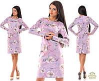 Платье из турецкой экозамши с цветочным принтом