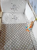 """Детское постельное белье в кроватку с вышивкой """"Бегемотик"""" комплект 8 ед. без конверта (бежевый)"""