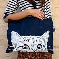 Большая текстильная сумка синяя с котом
