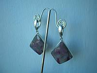 Серебряные серьги с натуральным сапфиром с вкраплениями рубина