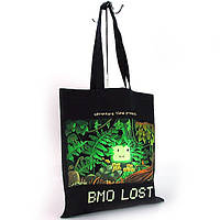 Черная текстильная сумка большая флуоресцентная