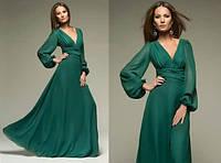 Длинное платье с рукавами, присборенными у манжета