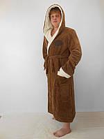 Батальный мужской махровый халат с двойным капюшоном коричневый+бел. пушистая махра