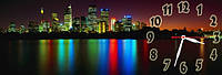 Ночной город - 7 часы настенные 30*90 см фотопечать