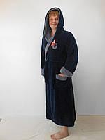 Батальный мужской махровый халат с двойным капюшоном т.синий+серый пушистая махра