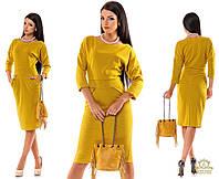 Осенне-весеннее трикотажное шерстяное платье по колено