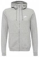 Толстовка мужская Nike hoodie fz flc Club (серый)