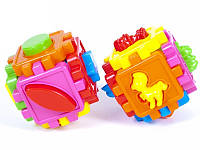 Логический куб-сортер, с животными. 10*10*10см в пакете /20/
