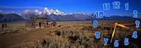 Хижина в горах часы настенные 30*90 см фотопечать