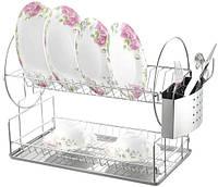 Сушилка для посуды 2-х ярусная с металлическим поддоном  Empire ЕМ 9787, 331*227*359 мм
