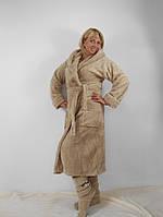Батальный длинный махровый бежевый халат с капюшоном