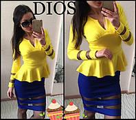 Платье с баской и сеткой сине-желтое