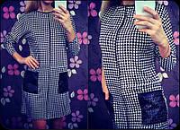 Платье на молнии с карманами из эко кожи VV 82236