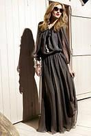 Длинное шифоновое платье в пол с тесьмой для завязывания