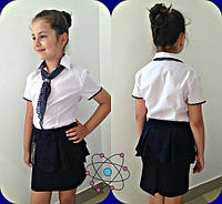 Блузка ткань рубашка отделка и галстук( горох штапель ). блуза шифон рост 140