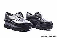 Туфли женские кожаные AVK (комфортные, высокая танкетка, шнуровка)