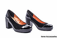 Туфли женские комбинированные Savio (удобные на каблуке)