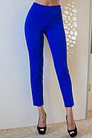Лаконичные укороченные женские брюки прямого кроя с завышенной талией костюмный стрейч
