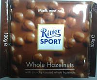 Шоколад RITTER SPORT молочный с цельным орехом .100 г.