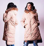 Пальто женское зимнее длинное с мехом, холлофайбер