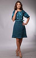 Льняное платье с вышивкой, цвет морской волны