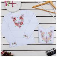 Блузка-вышиванка для девочки ТМ Фламинго, стрейч-кулир (артикул 801-412)