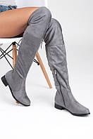 Женские замшевые ботфорты на низком ходу серые