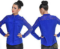 Женская коттоновая блузка с рукавами из гипюра