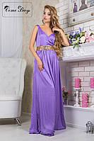 Длинное шелковое платье с поясом из пайеток