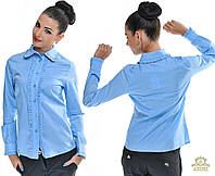 Женская коттоновая блузка с мелкими рюшами