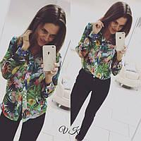 Женская летняя блуза из шифона с красивым принтом