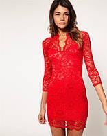 Гипюровое платье ASOS красного цвета с V-образным вырезом AB90178