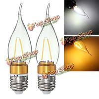E27 e14 e12 b22 b15 2w LED Эдисона нить пластик и алюминий чистый белый теплый шарик AC220V белый свет