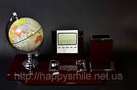 Настольный прибор. Глобус, часы, термометр, подставка под ручки, бумажный блок., фото 1