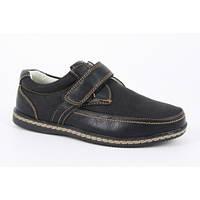 Туфли мокасины черные для мальчика на липучке, B&G (Украина)