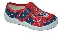 """Детские текстильные тапочки """"Мики Маус"""" красно-синие в горошек для девочки, Waldi, кожаная стелька, 24-30"""