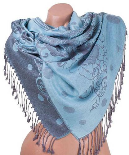 Экстравагантный женский двусторонний палантин из пашмины 173 на 69 см ETERNO ES2707-6-13 голубой