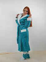 Длинный мягкий бирюзовый махровый халат (без сапожек)