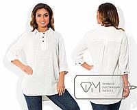 Белая льняная рубашка-туника больших размеров . Арт-1803/5